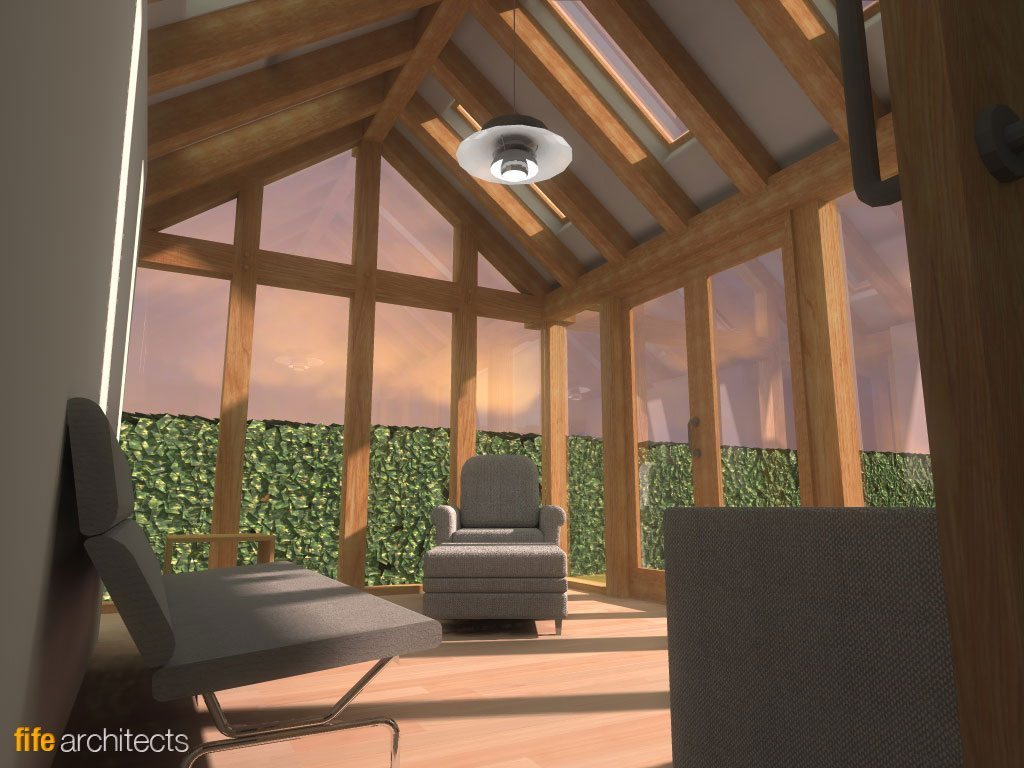 Oak Frame Extension Interior - Fife Architects