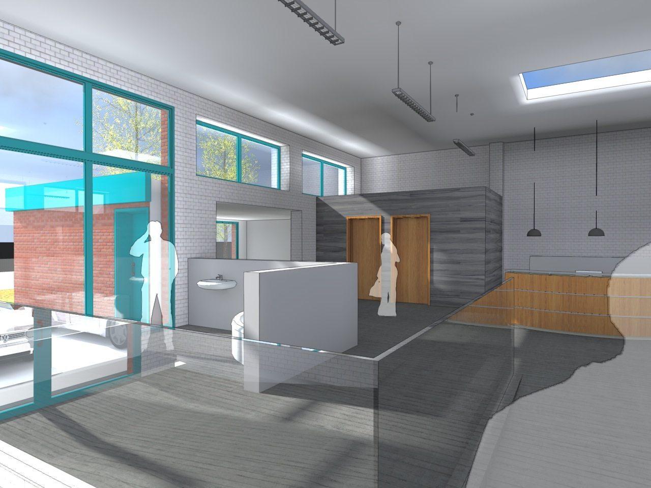 Interior layout bathroom showroom