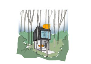 Escape to the woods - Fife Architects treehouse with roof top hot tub.