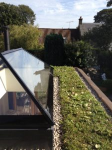 Lantern window with green roof